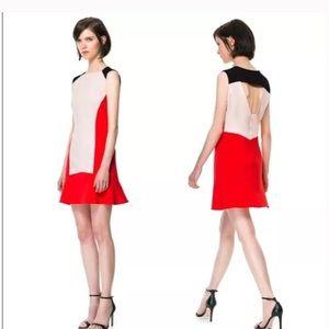 Zara Woman tricolor color block dress